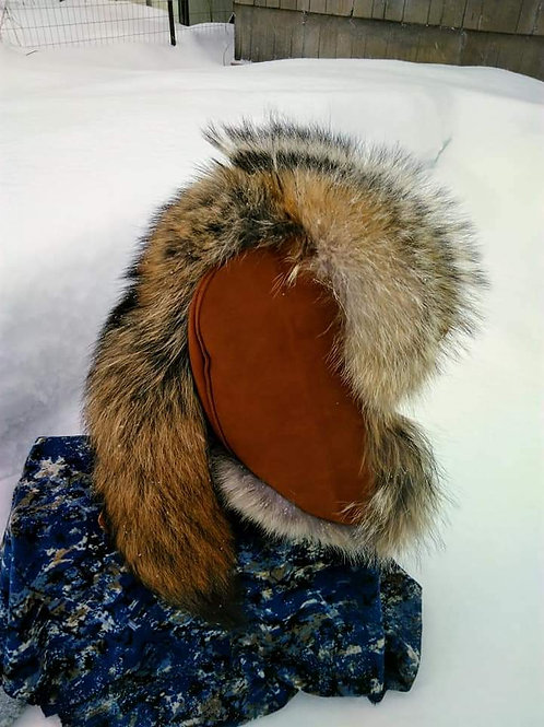 Coyote trapper hat with tail
