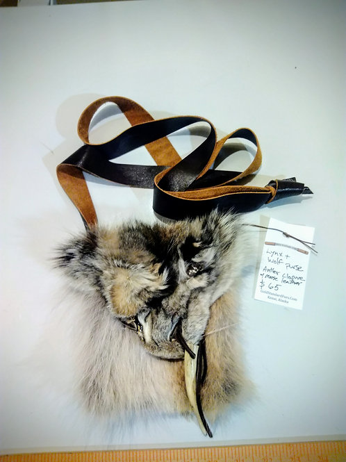 Lynx and wolf purse