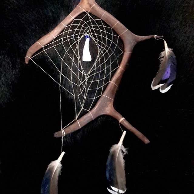 Caribou antler dream catcher with feathers and buffalo tooth  #dreamcatcher #caribou #tooth #buffalo