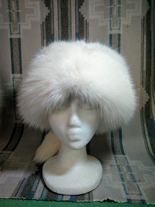 Blue fox pillbox hat