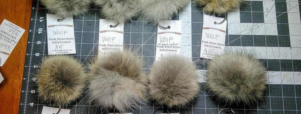 Wolf Fur Pom-Pom Keychain