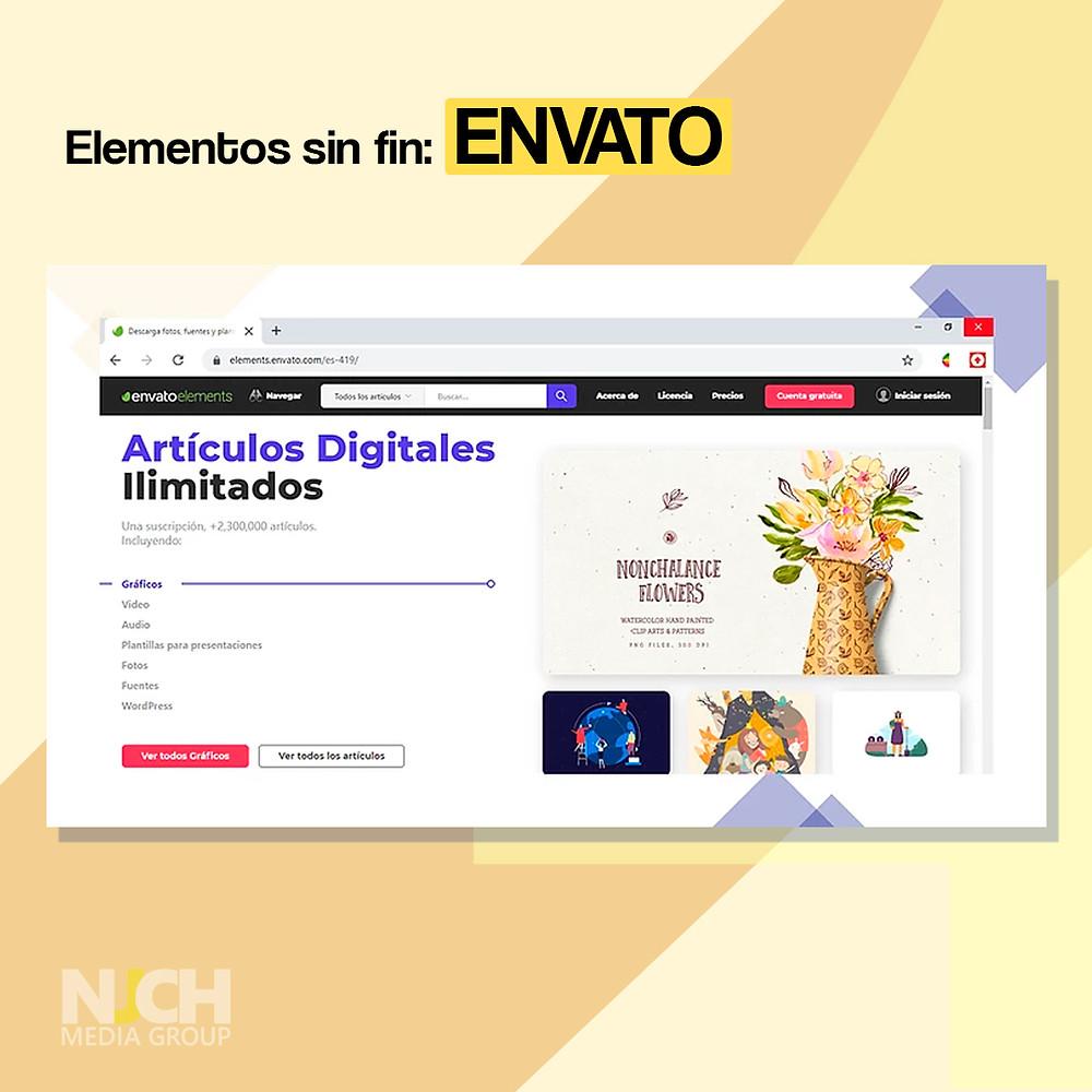 Envato elements landing page