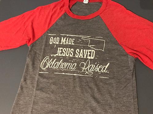 'God Made, Jesus Saved' Baseball T