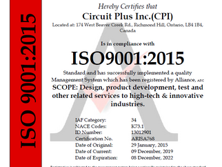 CPI ISO 9001:2015 Certificate Extension