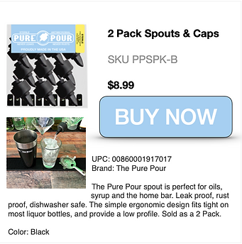 Buy Now 2pk of Pure Pour Spouts and Caps