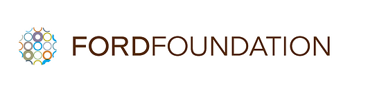 Ford Foundation logo in brown with circles in multi colors on left forming a globe