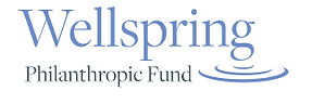 Wellspring Philanthropic Fund logo in gray blue with abstract half circles that looks like rippling water