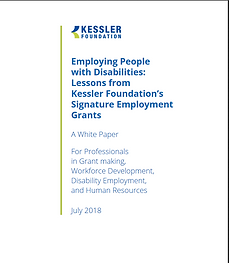 """Screen shot of white paper entitled, """"Employing People with Disabilities: Lessons from Kessler Foundation's Signature Employment Grants"""""""