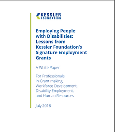 "Screen shot of white paper entitled, ""Employing People with Disabilities: Lessons from Kessler Foundation's Signature Employment Grants"""