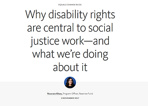 "Ford blog entitled, ""Why disability rights are centra to social justice work - and what we're doing about it."""