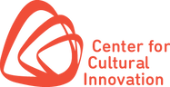 Center for Cultural Innovation logo with three abstract sphere-like object connects in red-orange color