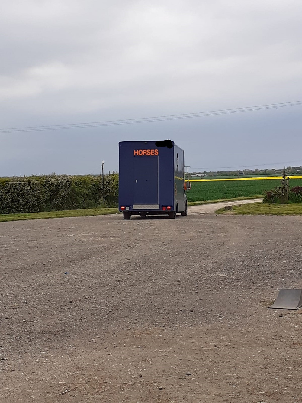 Horse transport lorry going off into the distance