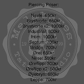 prisliste piercing