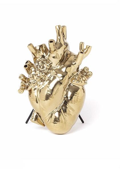 ''Love in Bloom - Gold'' Porcelain Heart