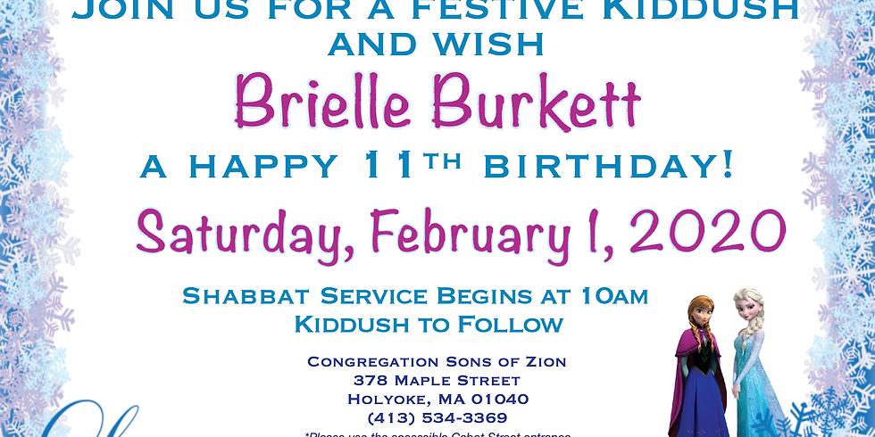 Birthday Kiddush for Brielle!