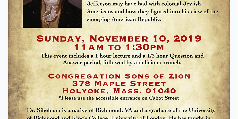 SOZ Adult Education Lecture Series Part I: Thomas Jefferson and the Jews