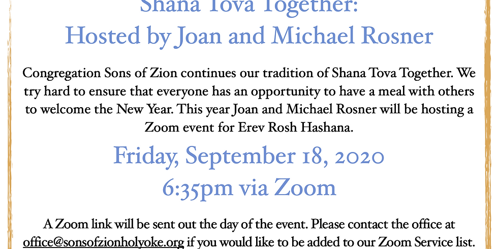Shana Tova Together: Hosted by the Rosners