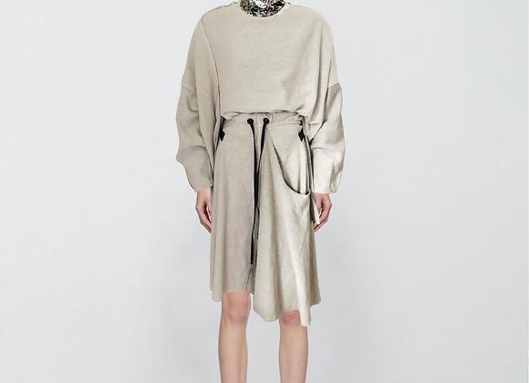 Reversed sweat layered skirt