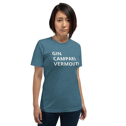 Gin, Campari, Vermouth - Short-Sleeve Unisex T-Shirt