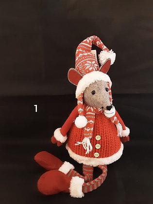 Maus mit Weihnachtsmütze