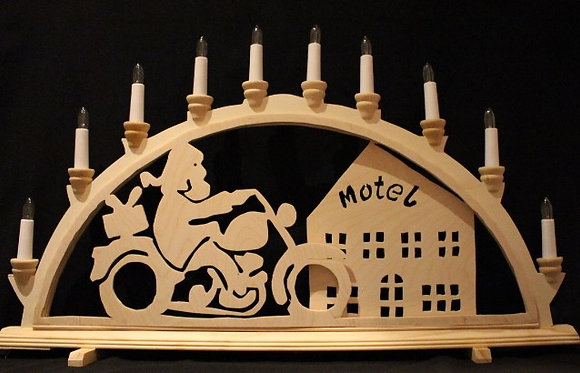 Schwibbogen Motorrad-Nikolaus
