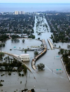 New Orleans, Louisiana in the aftermath of Hurricane Katrina, showing Interstate 10 at West End Boulevard.  U.S. Coast Guard photo, 2005.