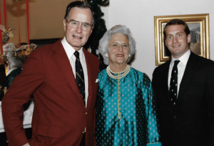 Vice President and Mrs. Bush with Peter Arnold at the Vice President's residence in Washington, DC (December 1987)