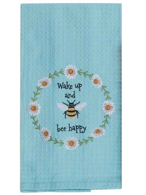 Tea Towel - Garden Bee Embroidered Waffle Style