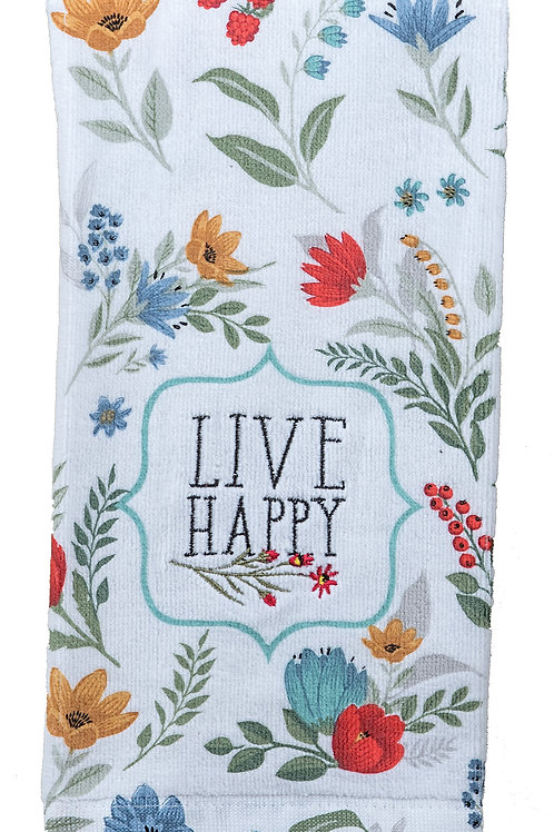 Tea Towel - Blooming Thoughts Embroidered Terry Cloth