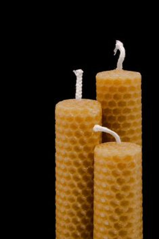 3 Hand-Rolled Taper Candles