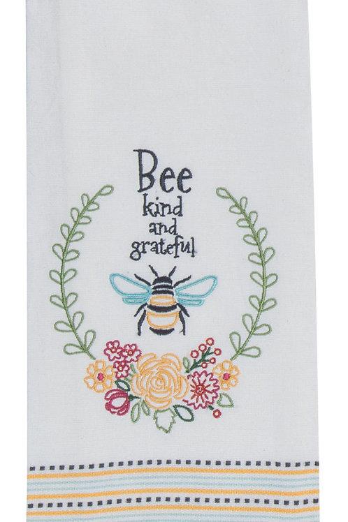 Tea Towel - Garden Bee Embroidered