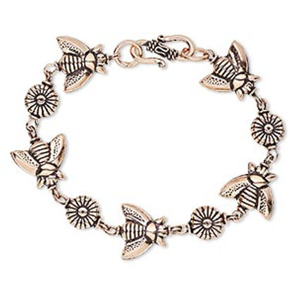 Silver Bee and Flower Bracelet