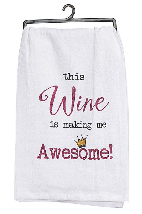 Tea Towel - Awesome Wine Krinkle Flour Sack