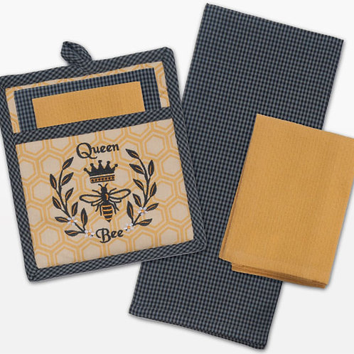 Potholder - Queen Bee Embroidered 3pc Gift Set