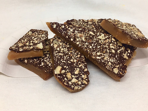 8oz Dark Chocolate Almond Honey Toffee (1/2lb)
