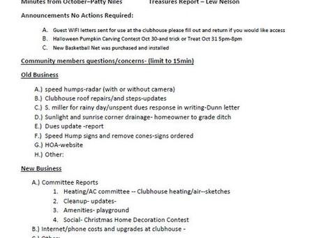 November 1, 2020 Meeting Agenda