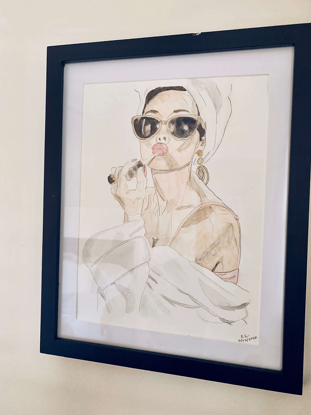 drawing of woman with towel on head and in a robe putting on lip gloss
