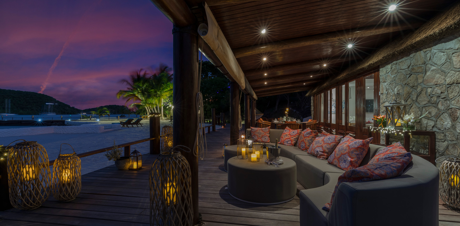 Outdoor seating at the Beach House