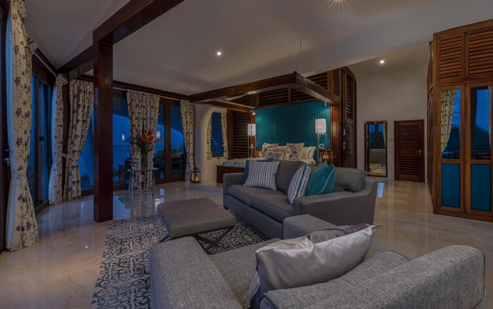 Main house bedroom at night