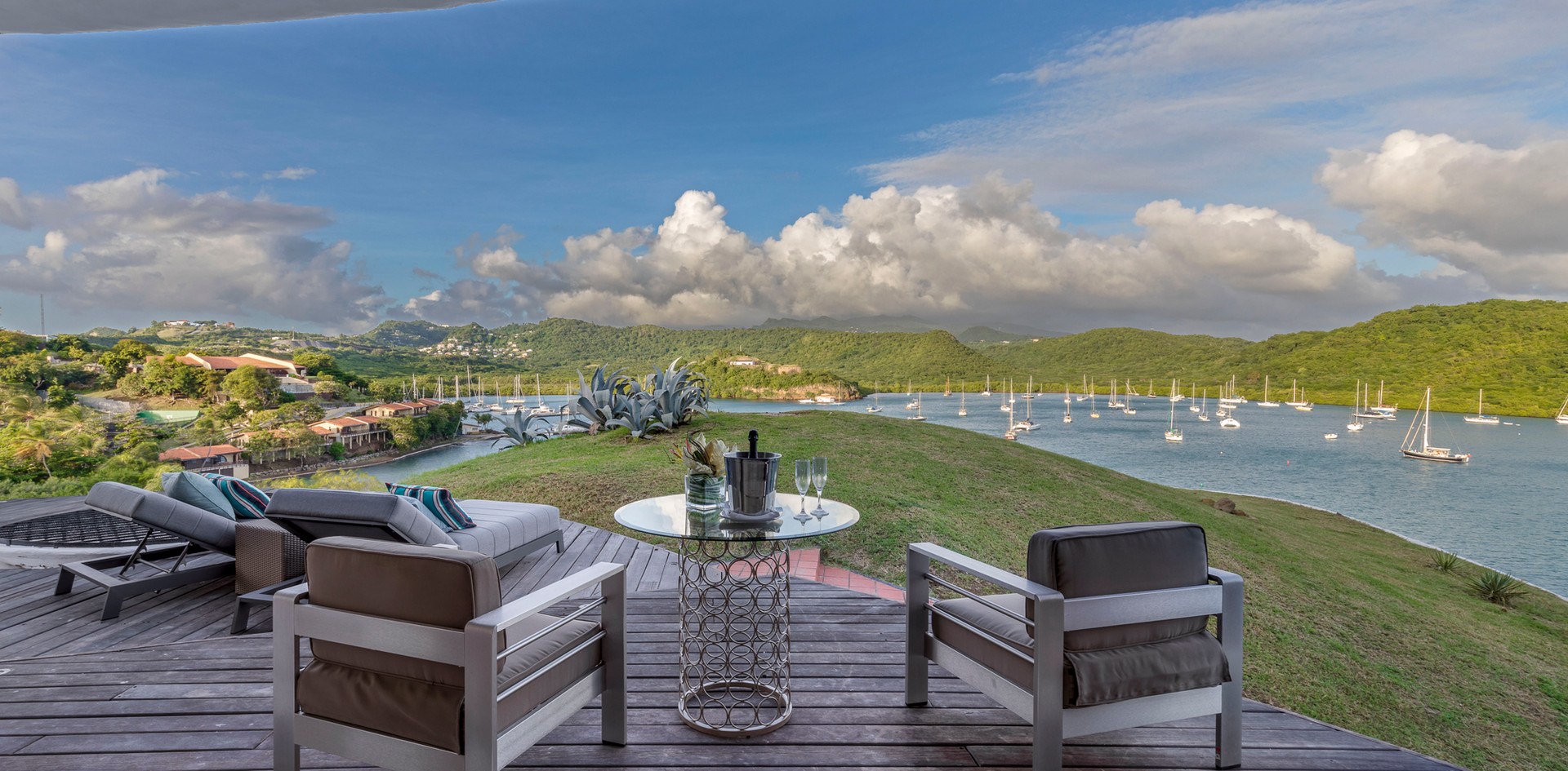 A private deck from a suite at the top of the house