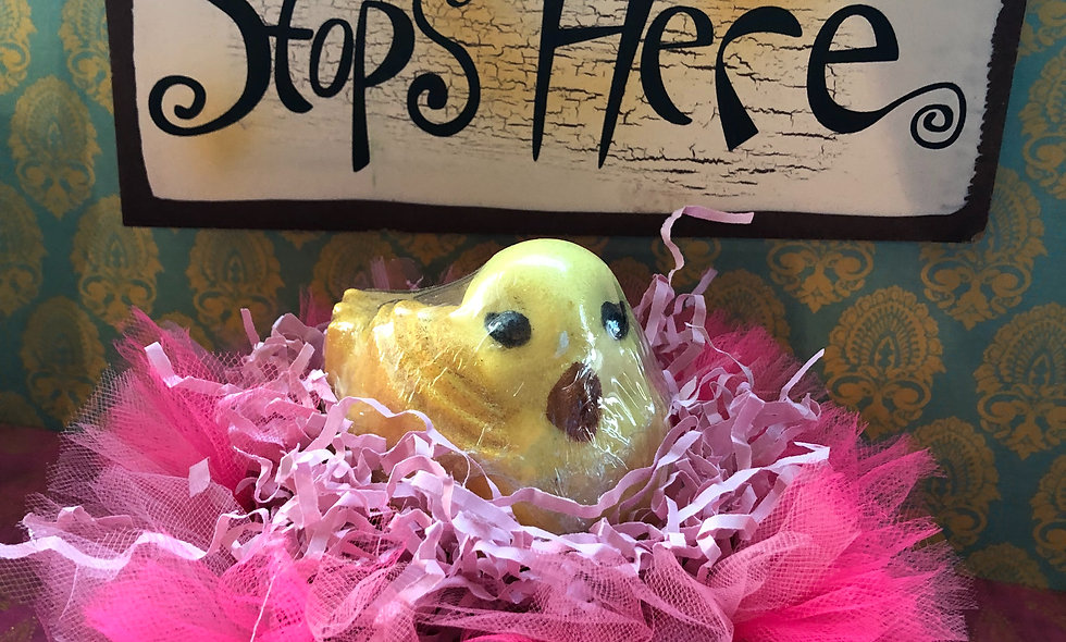 Baby Chick Bath Bomb with Pink Handtied Tutu Nest