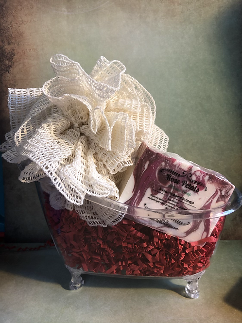 Tub Gift Set with Soap & Ramie Poof