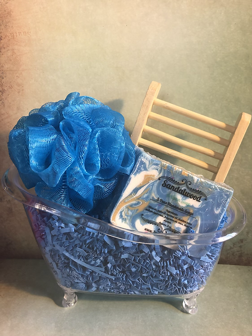 Tub Gift Set with Soap & Bamboo Soap Tray