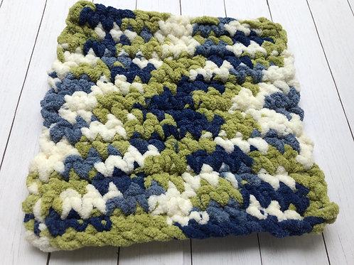 Crocheted Washcloth (Blue/Olive Green/White))