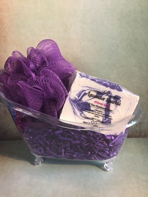 Tub Gift Set with Soap & Poof