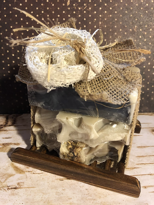 Skin Calming & Healing - 3 Bar Gift Pack With Bamboo Soap Tray
