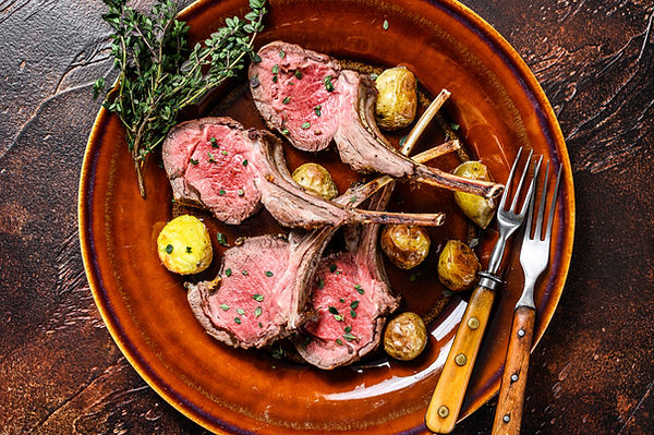 Roasted lamb meat rib chop steaks with p