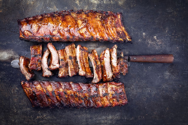 Barbecue Pork Spare Ribs as top view on