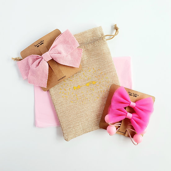 PRETTY IN PINK BOW BOBBLE GIFT SET