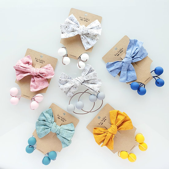 COLLECTION BY J - HAND-TIED BOW BOBBLE SET